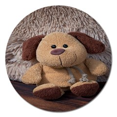 Stuffed Animal Fabric Dog Brown Magnet 5  (round) by AnjaniArt