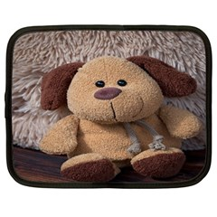 Stuffed Animal Fabric Dog Brown Netbook Case (large) by AnjaniArt