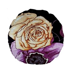 Texture Flower Pattern Fabric Design Standard 15  Premium Flano Round Cushions by AnjaniArt