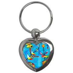 Happy Day   Blue Key Chains (heart)  by Valentinaart