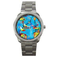 Happy Day   Blue Sport Metal Watch by Valentinaart