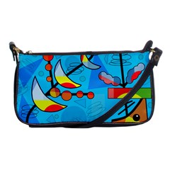 Happy Day   Blue Shoulder Clutch Bags by Valentinaart