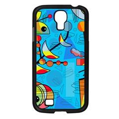 Happy Day   Blue Samsung Galaxy S4 I9500/ I9505 Case (black) by Valentinaart