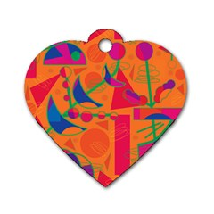 Happy Day   Orange Dog Tag Heart (two Sides) by Valentinaart