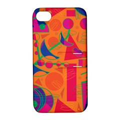 Happy Day   Orange Apple Iphone 4/4s Hardshell Case With Stand by Valentinaart