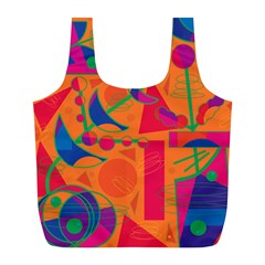 Happy Day   Orange Full Print Recycle Bags (l)  by Valentinaart