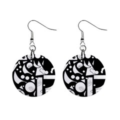Happy Day   Black And White Mini Button Earrings