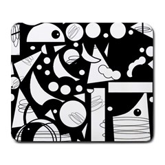 Happy Day   Black And White Large Mousepads by Valentinaart
