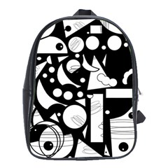 Happy Day   Black And White School Bags (xl)  by Valentinaart