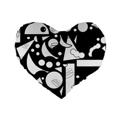 Happy Day   Black And White Standard 16  Premium Heart Shape Cushions by Valentinaart