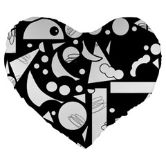Happy Day   Black And White Large 19  Premium Heart Shape Cushions by Valentinaart