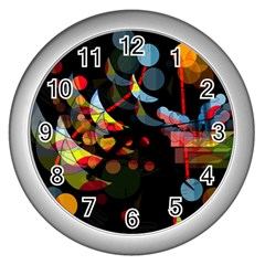 Magical Night  Wall Clocks (silver)  by Valentinaart