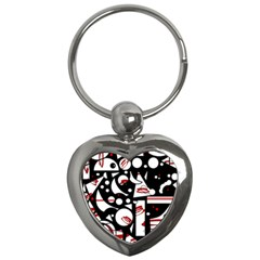 Happy Life   Red Key Chains (heart)  by Valentinaart