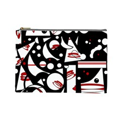 Happy Life   Red Cosmetic Bag (large)  by Valentinaart