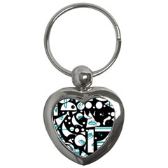 Happy Life   Blue Key Chains (heart)  by Valentinaart