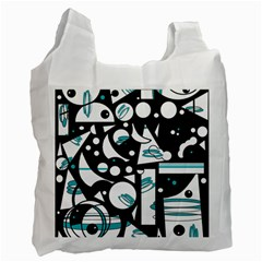 Happy Life   Blue Recycle Bag (one Side) by Valentinaart