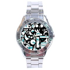 Happy Life   Blue Stainless Steel Analogue Watch by Valentinaart
