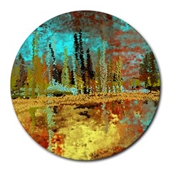 Autumn Landscape Impressionistic Design Round Mousepads by theunrulyartist