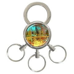 Autumn Landscape Impressionistic Design 3 Ring Key Chains by theunrulyartist