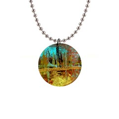 Autumn Landscape Impressionistic Design Button Necklaces by theunrulyartist