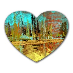 Autumn Landscape Impressionistic Design Heart Mousepads by theunrulyartist