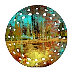 Autumn Landscape Impressionistic Design Round Filigree Ornament (2side) by digitaldivadesigns