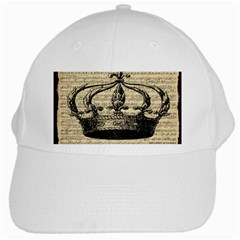 Vintage Music Sheet Crown Song White Cap by AnjaniArt