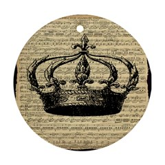 Vintage Music Sheet Crown Song Round Ornament (two Sides)  by AnjaniArt
