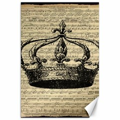 Vintage Music Sheet Crown Song Canvas 20  X 30   by AnjaniArt
