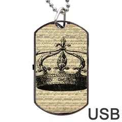 Vintage Music Sheet Crown Song Dog Tag USB Flash (One Side) by AnjaniArt