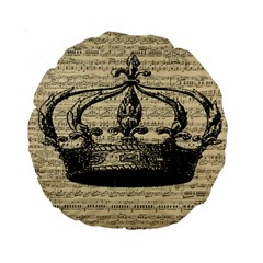 Vintage Music Sheet Crown Song Standard 15  Premium Round Cushions by AnjaniArt