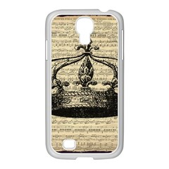 Vintage Music Sheet Crown Song Samsung Galaxy S4 I9500/ I9505 Case (white) by AnjaniArt