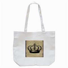 Vintage Music Sheet Crown Song Tote Bag (white) by AnjaniArt