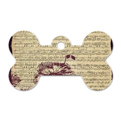 Vintage Music Sheet Song Musical Dog Tag Bone (two Sides) by AnjaniArt