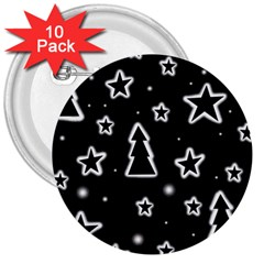 Black And White Xmas 3  Buttons (10 Pack)  by Valentinaart