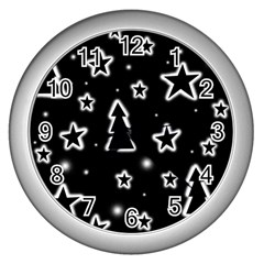 Black And White Xmas Wall Clocks (silver)  by Valentinaart