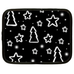 Black And White Xmas Netbook Case (xxl)  by Valentinaart