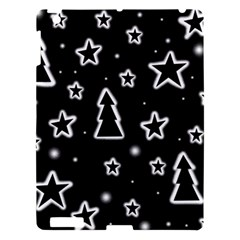 Black And White Xmas Apple Ipad 3/4 Hardshell Case by Valentinaart