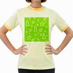 Green Christmas Women s Fitted Ringer T Shirts by Valentinaart
