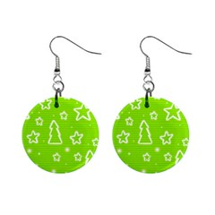 Green Christmas Mini Button Earrings by Valentinaart