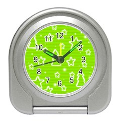 Green Christmas Travel Alarm Clocks by Valentinaart