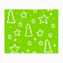 Green Christmas Small Glasses Cloth by Valentinaart