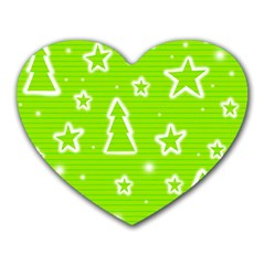 Green Christmas Heart Mousepads by Valentinaart