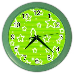 Green Christmas Color Wall Clocks by Valentinaart