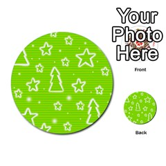Green Christmas Multi Purpose Cards (round)  by Valentinaart