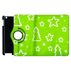 Green Christmas Apple Ipad 3/4 Flip 360 Case by Valentinaart