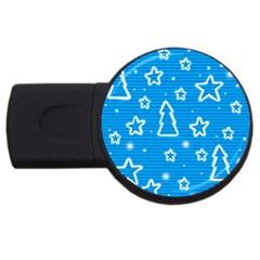Blue Decorative Xmas Design Usb Flash Drive Round (2 Gb)  by Valentinaart