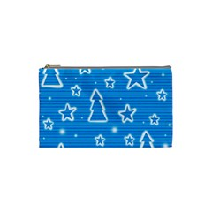 Blue Decorative Xmas Design Cosmetic Bag (small)  by Valentinaart