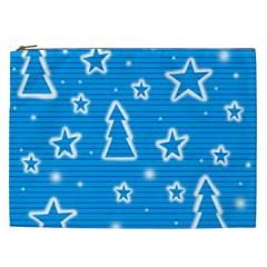 Blue decorative Xmas design Cosmetic Bag (XXL)