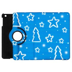 Blue Decorative Xmas Design Apple Ipad Mini Flip 360 Case by Valentinaart